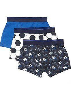 Ropa interior - Pack de 3 boxers con estampado de 'fútbol' - Kiabi