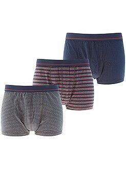 Ropa interior - Pack de 3 boxers de algodón elástico - Kiabi