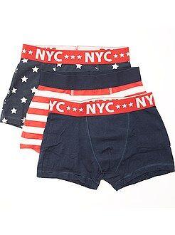 Niño 10-18 años Pack de 3 boxers de algodón elástico con estampado de 'banderas'
