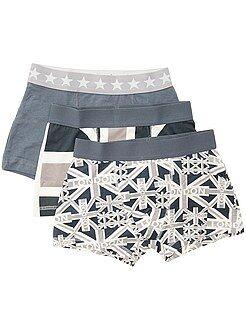 Ropa interior - Pack de 3 boxers de algodón elástico con estampado de 'banderas' - Kiabi