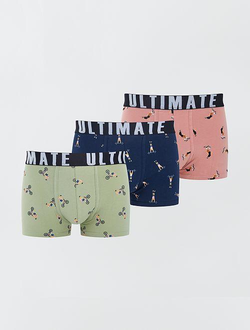 Pack de 3 boxers de fantasía                                                                                         AZUL