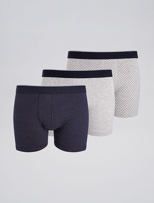 Pack de 3 boxers de fantasía                                                                     AZUL Hombre