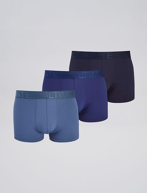 Pack de 3 boxers de microfibra                                                     AZUL
