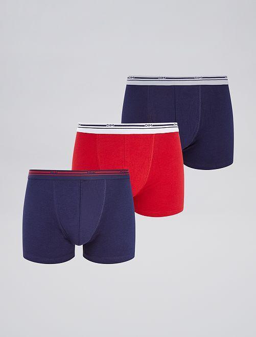 Pack de 3 boxers 'DIM'                                                     azul/rojo