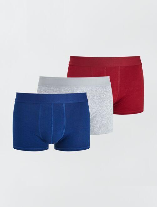 Pack de 3 boxers 'eco-concepción'                                                                                                     AZUL/gris/rojo