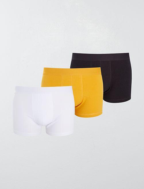 Pack de 3 boxers 'eco-concepción'                                                                                                     blanco/amarillo/negro