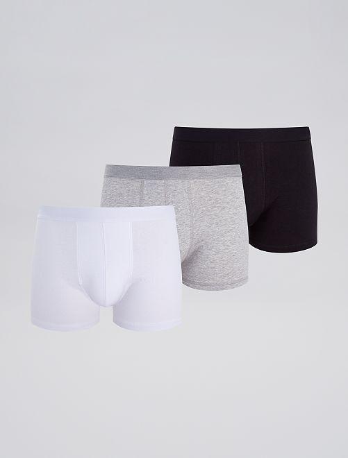 Pack de 3 boxers 'eco-concepción'                                                                                                     blanco/gris/negro
