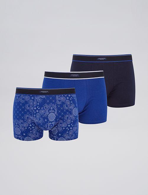 Pack de 3 boxers elásticos                                             AZUL