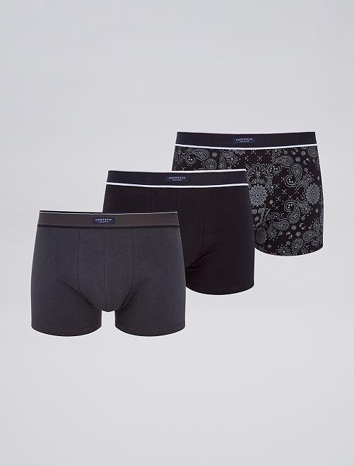 Pack de 3 boxers elásticos                                                     estampado negro