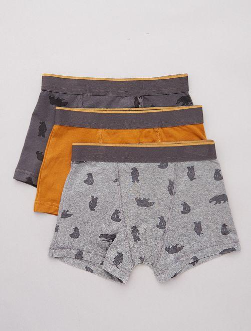 Pack de 3 boxers elásticos                                                                                                                             GRIS Chico