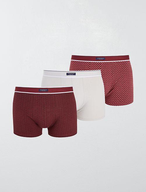 Pack de 3 boxers elásticos                                                                                         ROJO