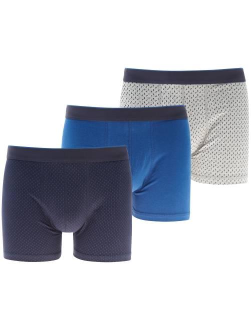 Pack de 3 boxers estampados                                         AZUL Hombre