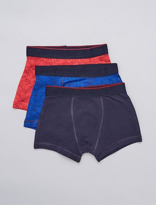 Pack de 3 boxers estampados 'dinosaurios'                             ROJO