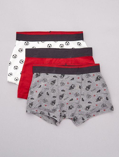 Pack de 3 boxers estampados 'fútbol'                             ROJO