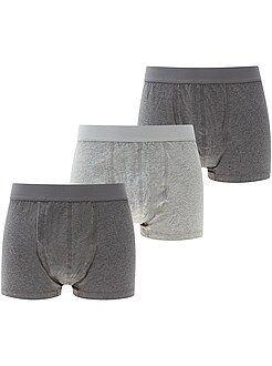 Ropa interior - Pack de 3 boxers jaspeados lisos tallas grandes - Kiabi