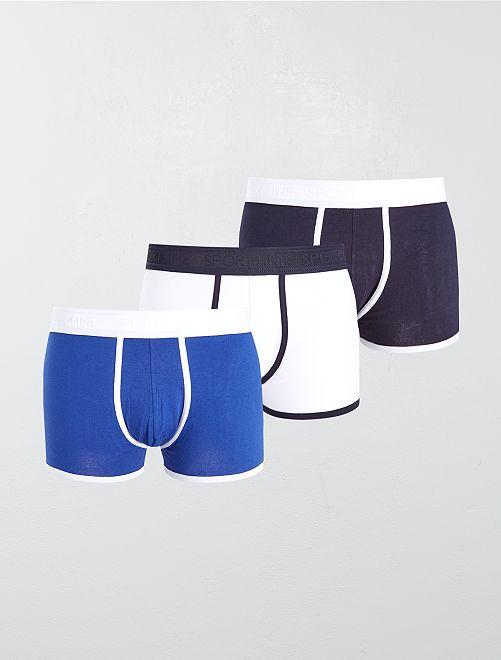 Pack de 3 boxers lisos elásticos                                                     AZUL