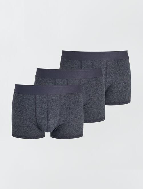 Pack de 3 boxers lisos elásticos                                                                                         GRIS Hombre