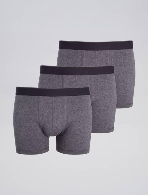 Pack de 3 boxers lisos                                                     GRIS Hombre