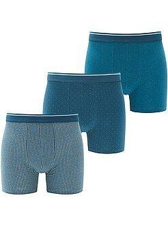 Ropa interior - Pack de 3 boxers long fit de algodón elástico - Kiabi