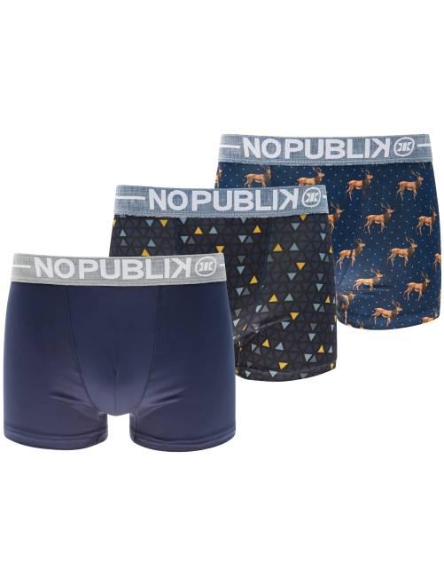 Pack de 3 boxers 'No Publik'                             AZUL