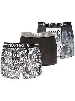 Ropa interior - Pack de 3 boxers 'No Publik' - Kiabi