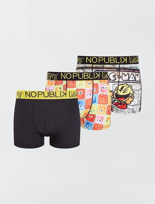 Pack de 3 boxers 'Pac-man' 'No Publik'                             multicolor