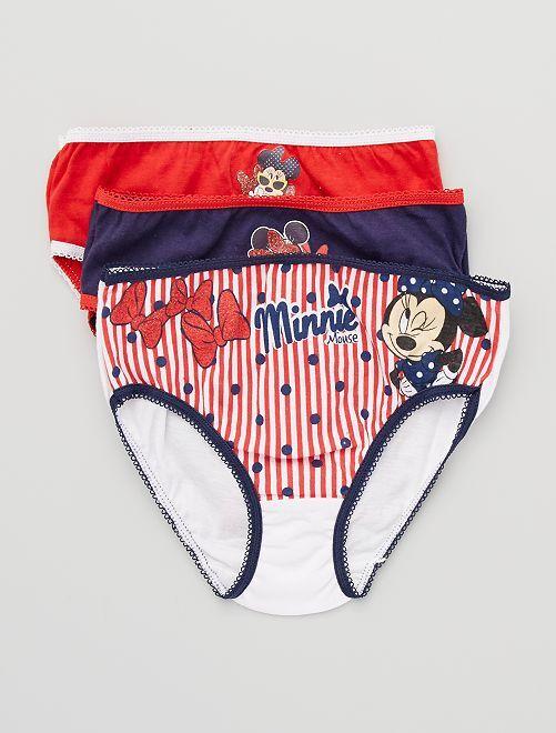 Pack de 3 braguitas 'Minnie'                             rojo/blanco/marino