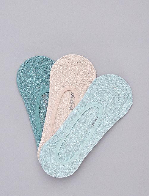 Pack de 3 calcetines cortos con brillos                                                                 azul/rosa Lencería de la s a la xxl
