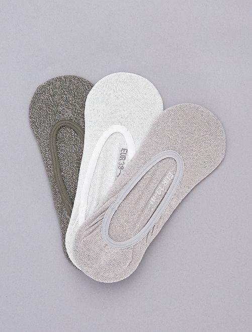 Pack de 3 calcetines cortos con brillos                             gris