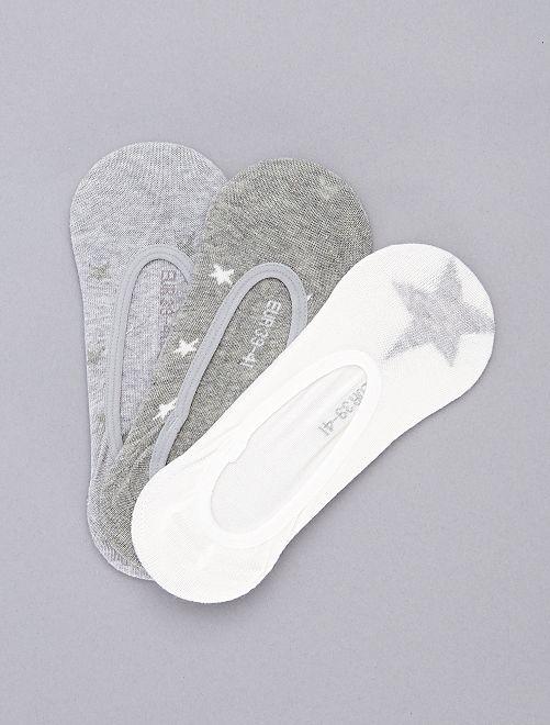 Pack de 3 calcetines cortos con brillos                                                                 gris Lencería de la s a la xxl