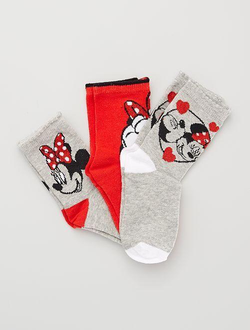Pack de 3 calcetines de 'Minnie' de 'Disney'                                         ROJO