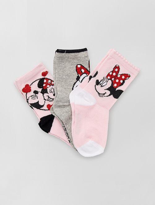 Pack de 3 calcetines de 'Minnie' de 'Disney'                                         rosa/gris