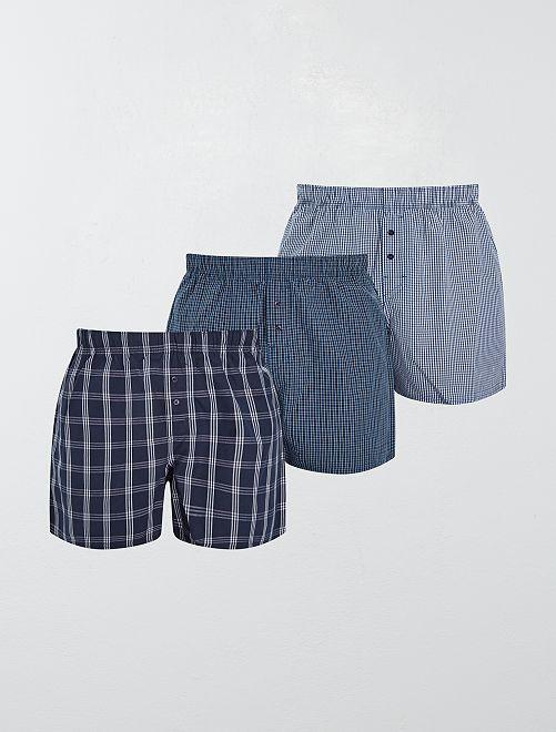Pack de 3 calzoncillos de algodón puro                                             AZUL