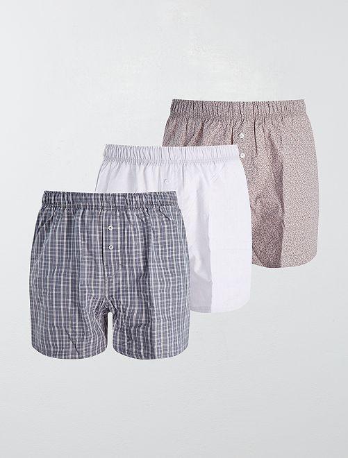 Pack de 3 calzoncillos de algodón puro                                                                                                                                                     GRIS