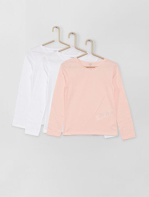 Pack de 3 camisetas de algodón                             blanco/rosa