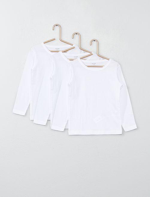 Pack de 3 camisetas de manga larga de algodón                             blanco