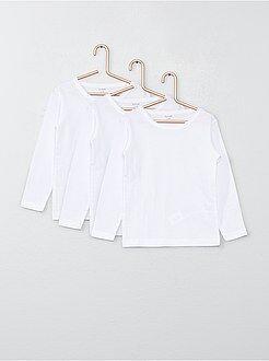 Niña 3-12 años Pack de 3 camisetas de manga larga de algodón
