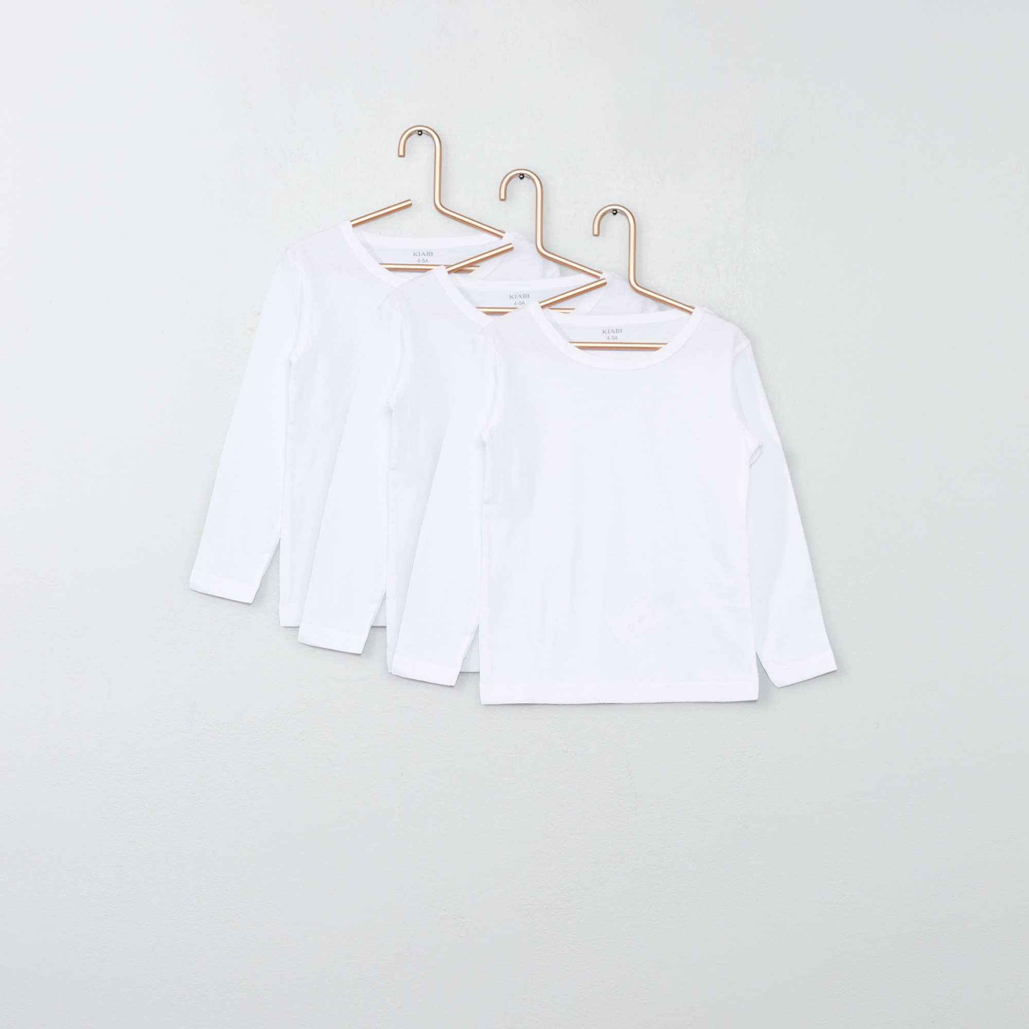 1c4055c37da Pack de 3 camisetas de manga larga de algodón Chica - blanco - Kiabi ...
