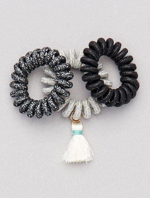 Pack de 3 gomas para el pelo de espiral                                                     negro/gris