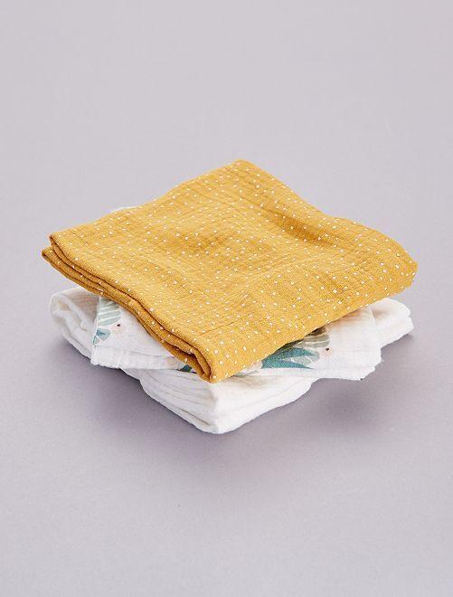Pack de 3 mantas para bebé estampadas                                                     AMARILLO
