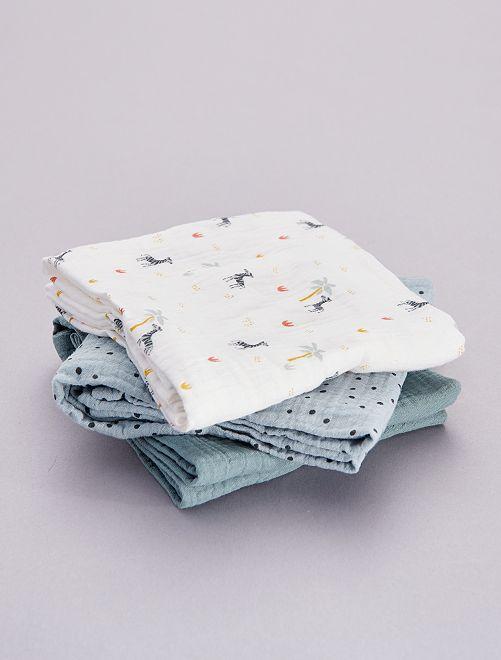 Pack de 3 mantas para bebé estampadas                                                     AZUL