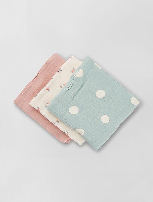 Pack de 3 muselinas para bebé                                                                                         BLANCO
