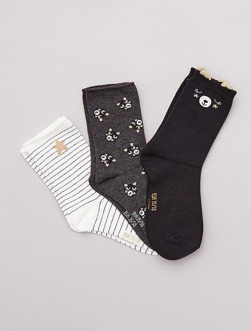 Pack de 3 pares calcetines fantasía                                                                                         oso