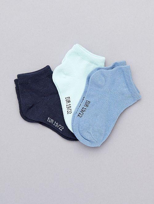 Pack de 3 pares calcetines invisibles lisos                                                                 azul Bebé niño