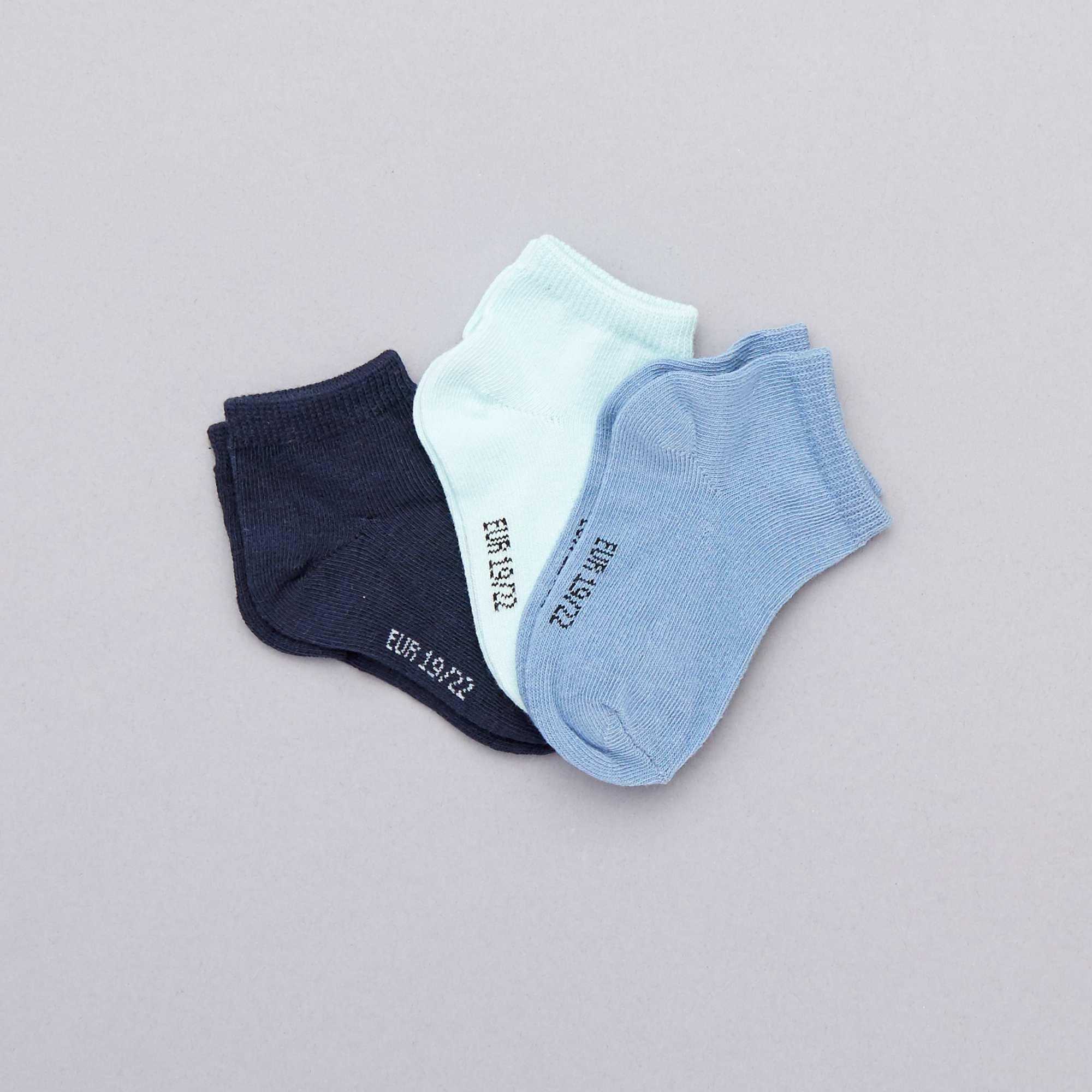 f6bcf4274 Pack de 3 pares calcetines invisibles lisos azul Bebé niño. Loading zoom