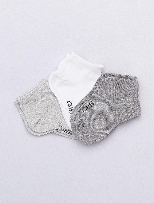 Pack de 3 pares calcetines invisibles lisos                                                                 GRIS Bebé niño