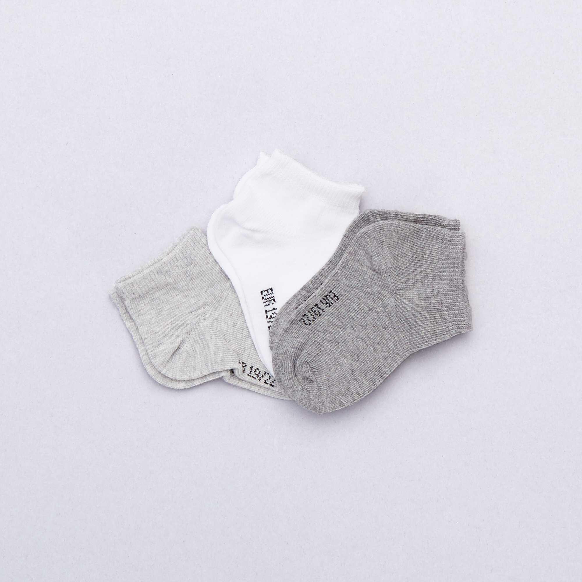 b18cd85e0 Pack de 3 pares calcetines invisibles lisos GRIS Bebé niño. Loading zoom