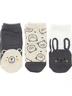 Calcetines, leotardos - Pack de 3 pares de calcetines antideslizantes - Kiabi