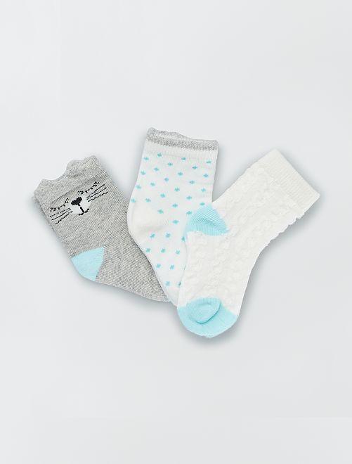Pack de 3 pares de calcetines                     azul/gris