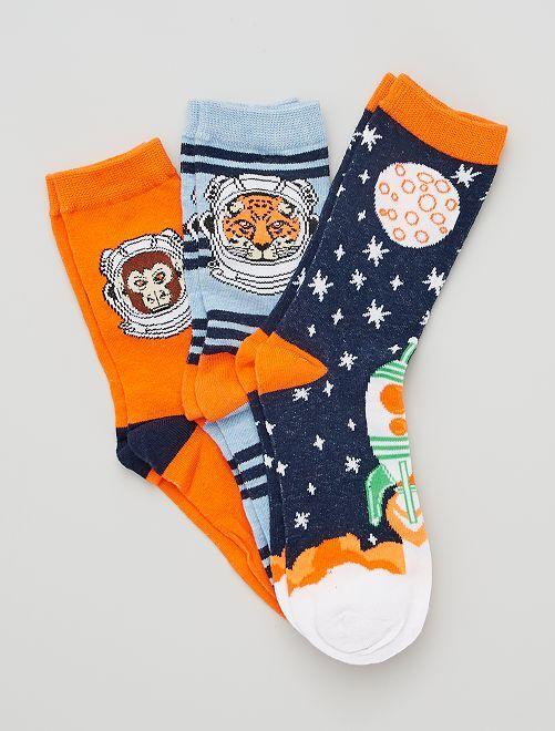 Pack de 3 pares de calcetines                                         azul/naranja